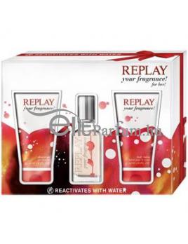 Replay Your Fragrance! for her női parfüm Set (Ajándék szett) (eau de toilette) edt 20ml + Tusfürdő 50ml + Testápoló tej 50ml